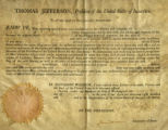 Thomas Jefferson Certificate